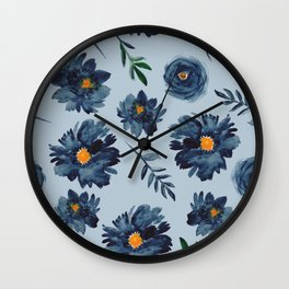 Watercolor Flower Pattern - Classic Blue - Indigo Wall Clock