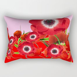 RED TIDE OF RED SPRING ANEMONE  GARDEN  FLORAL Rectangular Pillow