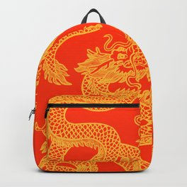 Red and Gold Battling Dragons Backpack