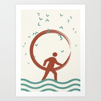 surfing Art Prints featuring Surfing by Yasmina Baggili