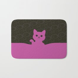 Kawaii waving kitty Bath Mat