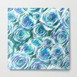 Textured Roses Blue Amanya Design Metal Print