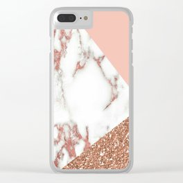 Marble - pink and gold Clear iPhone Case