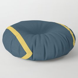 Long Deco Minimalist Frame Pattern in Light Mustard and Navy Blue Solid Floor Pillow