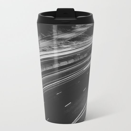 Seattle at Night - Black and White Metal Travel Mug