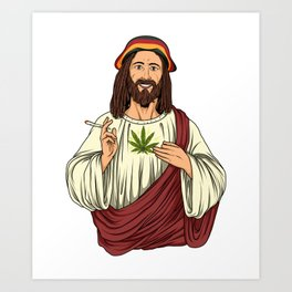 Weed Smoking Jesus Christ - Cannabis Stoner THC Art Print