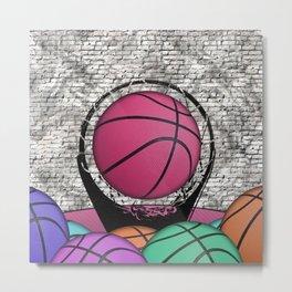 Colorful Basketballs Urban Grunge Hoop Metal Print