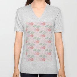 Cherry Cross Stitch Pattern on pink Unisex V-Neck