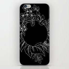 Black Floral Circle iPhone Skin