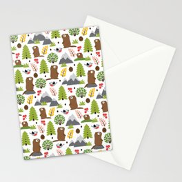 Marmots on a Mountain Glade Pattern Stationery Cards