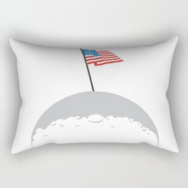 American Flag on The Moon Rectangular Pillow