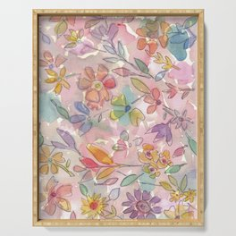 Light Pink Floral Watercolor Serving Tray