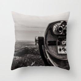 Mountain Tourist Binoculars Black and White Throw Pillow