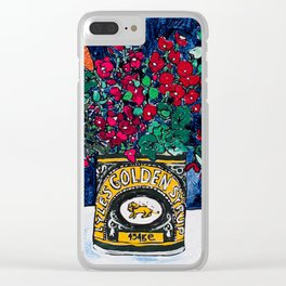 Wild Flowers in Golden Syrup Tin on Blue Clear iPhone Case