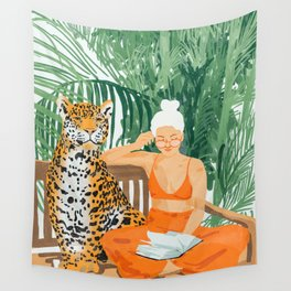 Jungle Vacay #painting #illustration Wall Tapestry