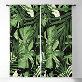 Tropical Jungle Night Leaves Pattern #5 #tropical #decor #art #society6 Blackout Curtain
