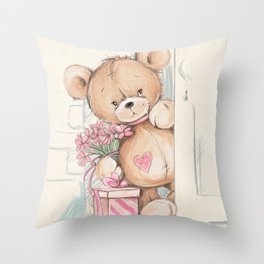 Bear in The Room Throw Pillow