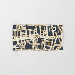 PARIS MAP GREY GOLD Hand & Bath Towel