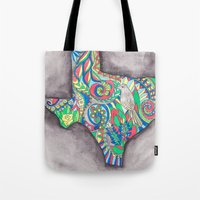 texas Tote Bags featuring Texas by Laura Maxwell