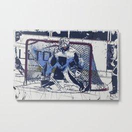 The Goal Keeper - Ice Hockey Metal Print
