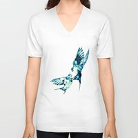birds V-neck T-shirts featuring Birds by Nuam