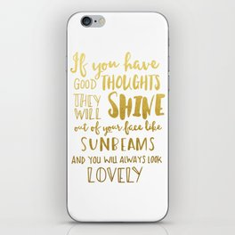 Good thoughts - gold lettering iPhone Skin