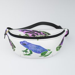 Watercolor Rainbow Poison Dart Frogs - Pastel Fanny Pack