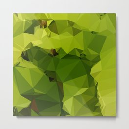 Avocado Green Abstract Low Polygon Background Metal Print