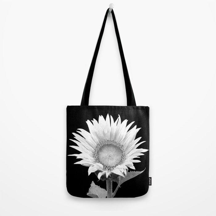 White Sunflower Black Background Tote Bag