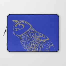 Cat doodle in golden yellow and blue. Laptop Sleeve
