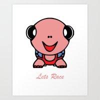 Let's Race Baby Girl Art Print