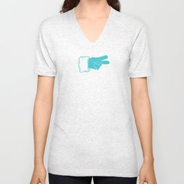 santa peace in winter teal Unisex V-Neck