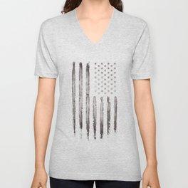 White Grunge American flag Unisex V-Neck