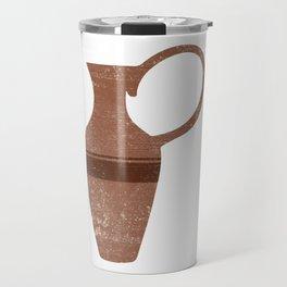 Minimal Abstract Greek Vase 14 - Lekythos - Terracotta Series - Modern, Contemporary Print - Brown Travel Mug