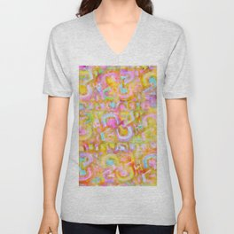 Rainbow Pastel Abstract Typography Watercolor Painting Unisex V-Neck