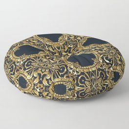 Black Gold Rococo Pattern Floor Pillow