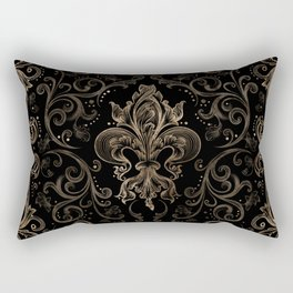 Fleur-de-lis ornament Black and Gold Rectangular Pillow