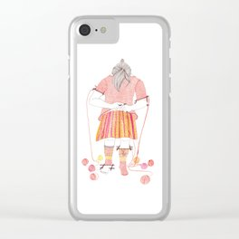 Knitster Girl Sweater & Socks Clear iPhone Case