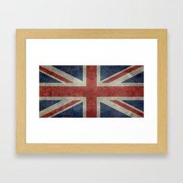 UK Flag, Dark grunge 1:2 scale Framed Art Print