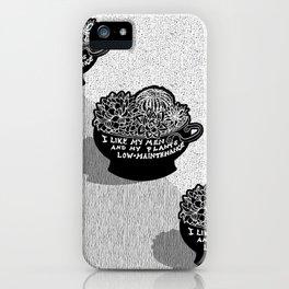 Lo-Maintenance Men & Cacti Black and White Trendy Illustration iPhone Case