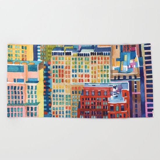 New York buildings Beach Towel