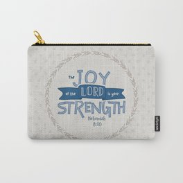 """""""The Joy of the Lord"""" Hand-Lettered Bible Verse Carry-All Pouch"""