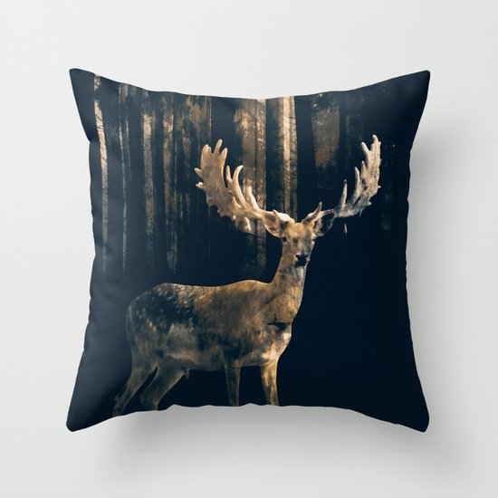 Deer in the dark forest Throw Pillow