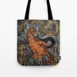 Jiu Jitsu Tiger and Dragon Art, Yin Yang, Martial Arts, Bjj Mma, Japanese Tote Bag