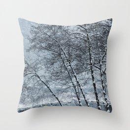Snow Falling on a Tree Throw Pillow