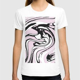 Black, White and Pink Graphic Paint Swirl Pattern Effect T-shirt
