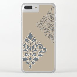 Scroll Damask Art I (outline) Crm Blues Sand Clear iPhone Case