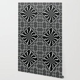 Wavy Black and White Diamond Pinwheels and Stripes 2 Digital Illustration Artwork Wallpaper