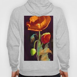 Poppy Flower and Bud Vector Floral Art Hoody