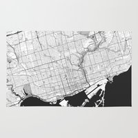 toronto Area & Throw Rugs featuring Toronto Map Gray by City Art Posters